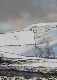 the long wall in winter, picture size 21x28.5 inch approx, pastel - alan cameron
